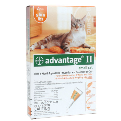 Advantage II for Cats and Kittens - Orange - 5 to 9 lb. - 4 pk