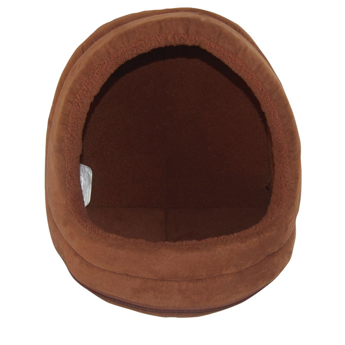 Nap Terry and Suede Hood Cat Bed - Espresso - 14 in.